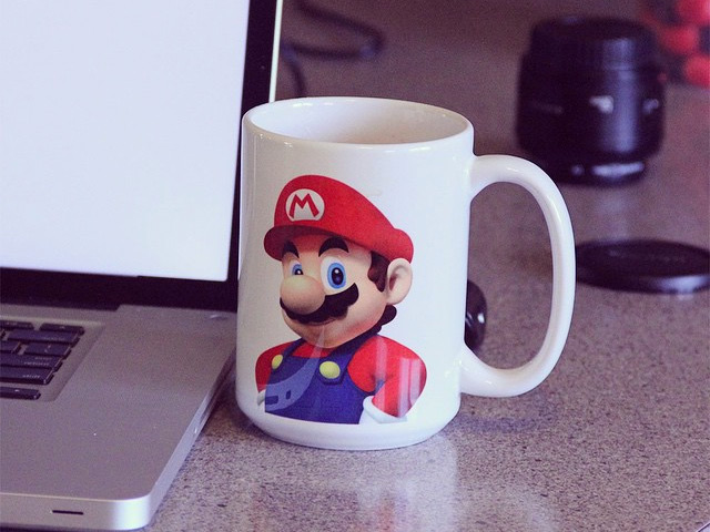 Mario mug scaring Matt into doing better web work.
